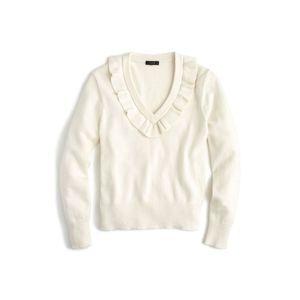 J. Crew Ruffle V-Neck Sweater Style H5828
